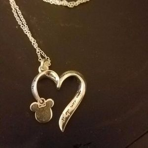 Sterling Silver Disney Heart Engraved Necklace